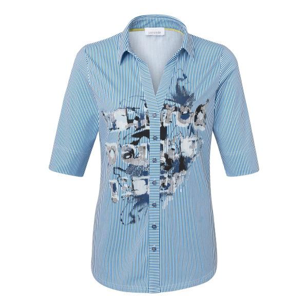 Gestreifte Shirtbluse mit Hemdkragen und floralem Druck aus Baumwoll-Stretch in blau-weiß von JUST WHITE