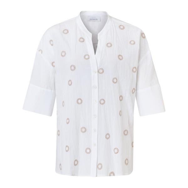 Hemdbluse Kurzarm mit beiger Stickereien