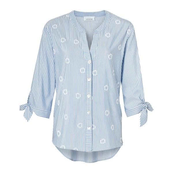 Gestreifte Bluse mit Stickereien und Schleifen mit Leinen von JUST WHITE