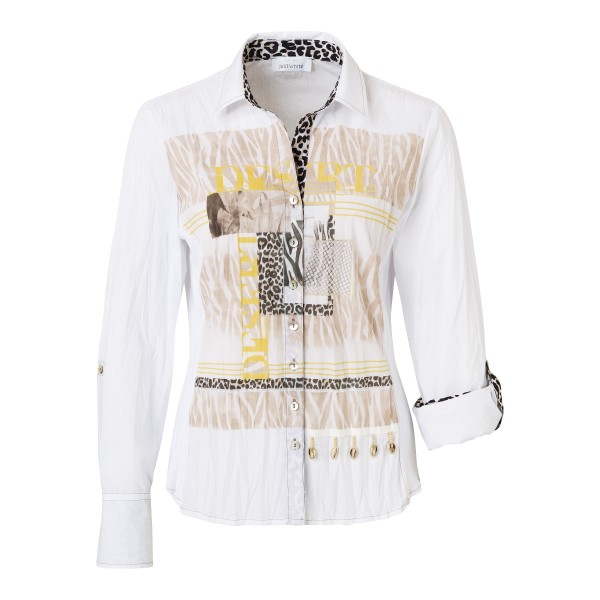 Crashbluse mit wildem Frontprint in Weiß von JUST WHITE