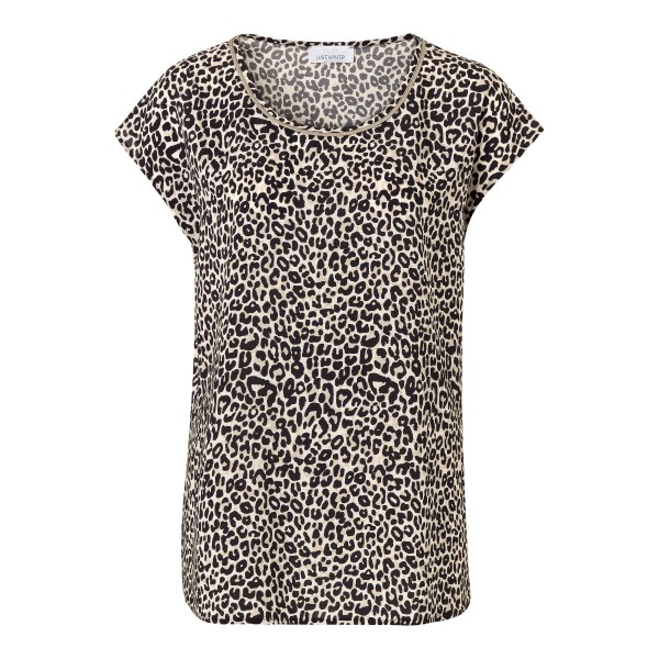 Shirt mit Leo-Print in Beige von JUST WHITE