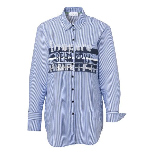 Blau Weiße Bluse mit Streifen und Statement Print von JUST WHITE