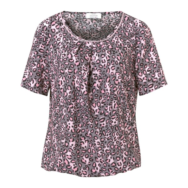Kurzarm-Bluse mit coolem Animal Print in Grau und Rosa von JUST WHITE