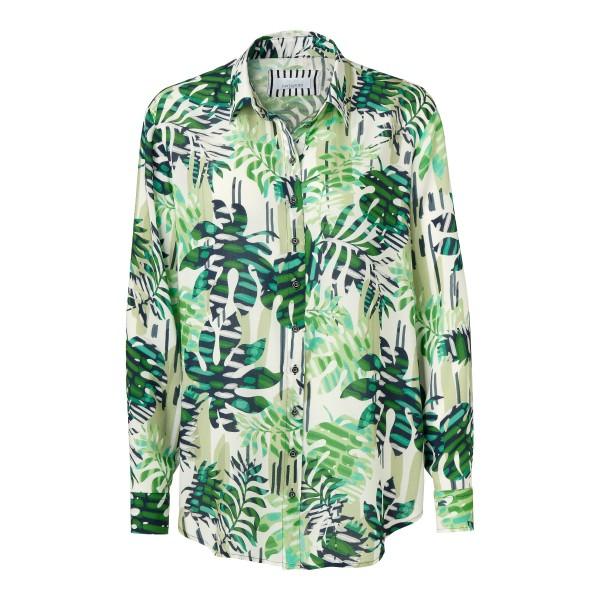 Schöne Hemdbluse mit Hemdkragen und exotischem Blätter Print von JUST WHITE