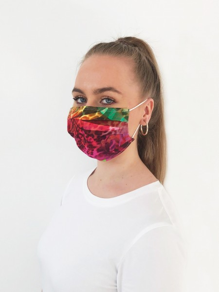 1-lagige Alltagsmaske Community Maske floraler Alloverprint in Khaki und Pink von JUST WHITE