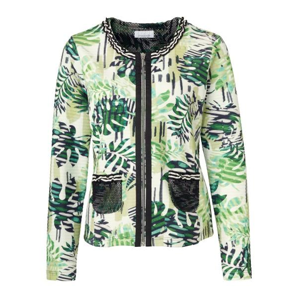 Wunderschöne Jacke aus Struktur-Stoff mit grün-weißem Blätter Print von JUST WHITE