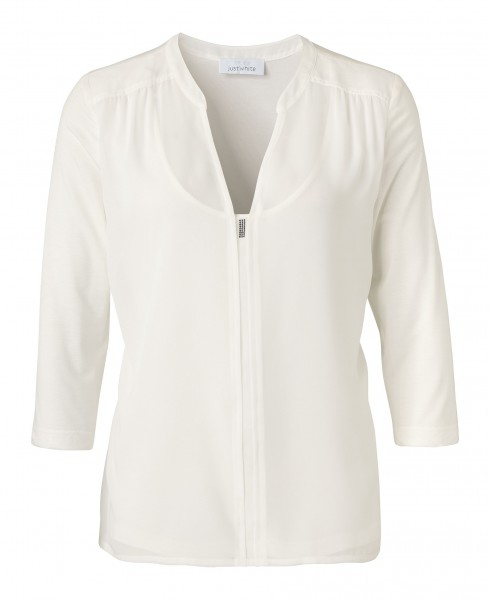 JUST WHITE Two-in-One Shirtbluse in Offwhite