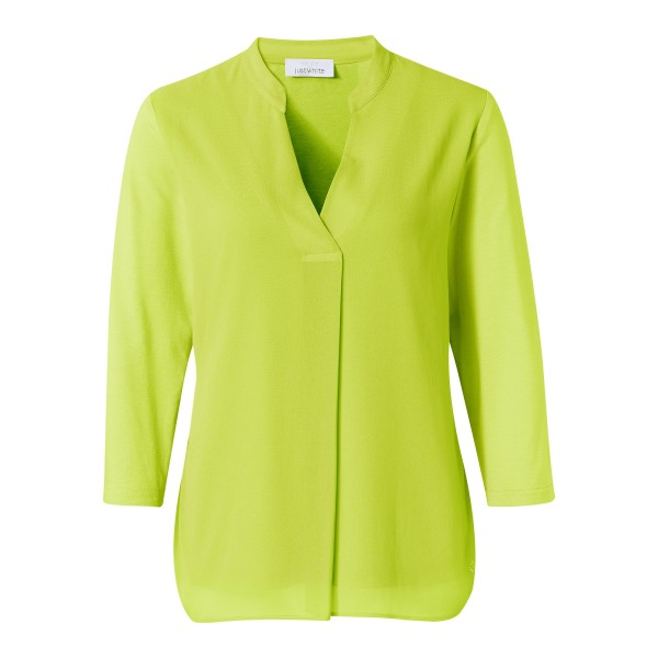 Blusenshirt mit V-Ausschnitt und Chiffon in Grün von JUST WHITE