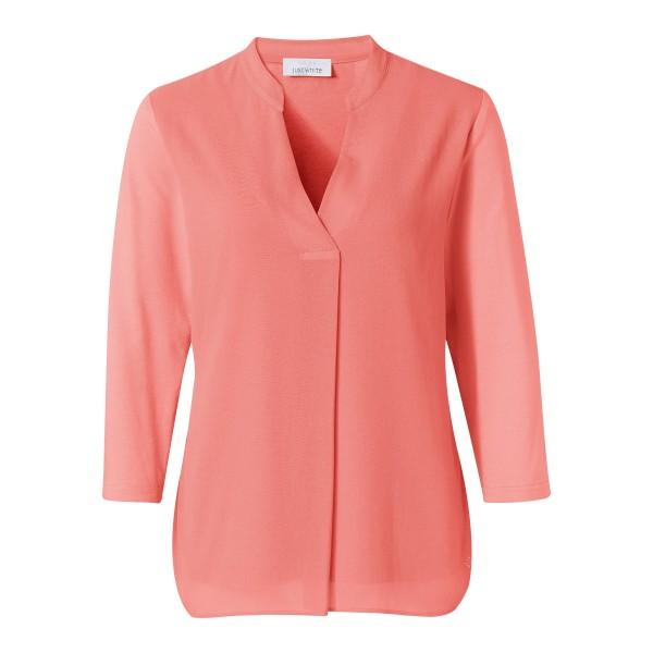 Blusenshirt mit Chiffon und V-Ausschnitt in Rosa, Koralle