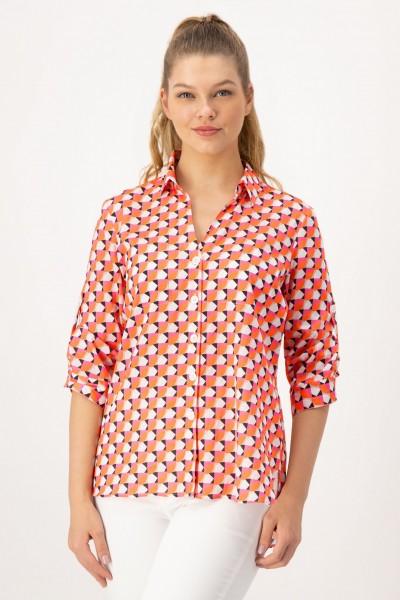Lockere Bluse mit trendigem, geometrischen Muster in Pink, Orange von JUST WHITE