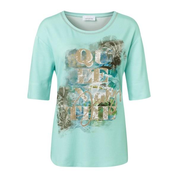 Viskose Shirt für Damen mit Print in Türkis