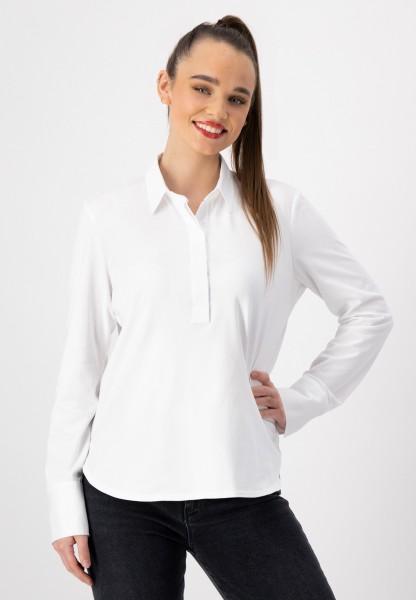 Weißes Blusenshirt mit Hemdkragen und Knopfleiste von justWhite