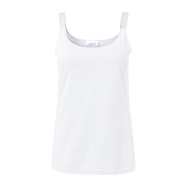 Tank-Top für Damen mit Glitzerträgern in Weiß von JUST WHITE