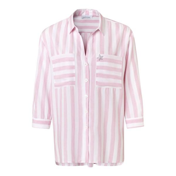 Gestreifte Damen Bluse rosa mit Brusttaschen aus Viskose Leinen von JUST WHITE