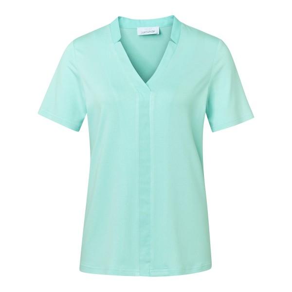 Basic-Shirt in Türkis mit V-Ausschnitt