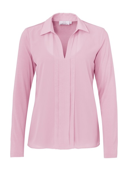 JUST WHITE Shirtbluse im Materialmix in Rosa
