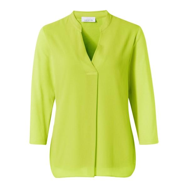 Giftgrüne Shirtbluse mit Chiffon und 3/4 Arm von JUST WHITE