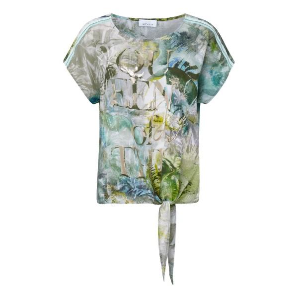 Viskose T-Shirt zum Binden mit khaki Allover Print von JUST WHITE