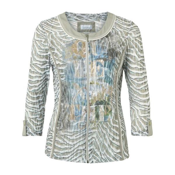 Leichte Jacke mit Animal Print Khaki Türkis von JUST WHITE