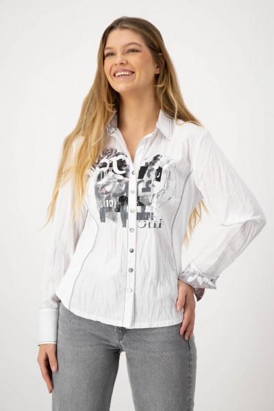 Bluse mit Crash Effekt und Manschetten und Kragen mit Animalprint von JUST WHITE