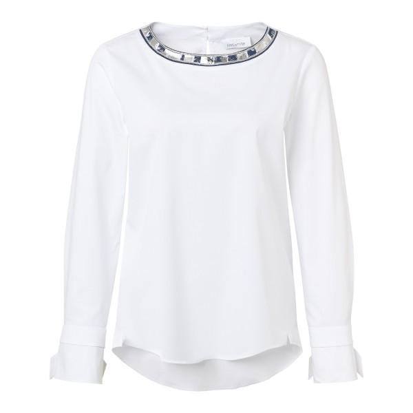 Kragenlose Bluse in Weiß