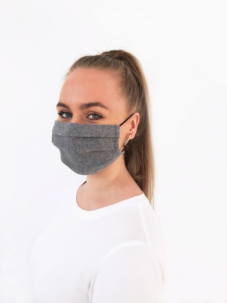 Alltagsmaske – Community Maske in unifarbenem Grau in Rippjersey-Optik