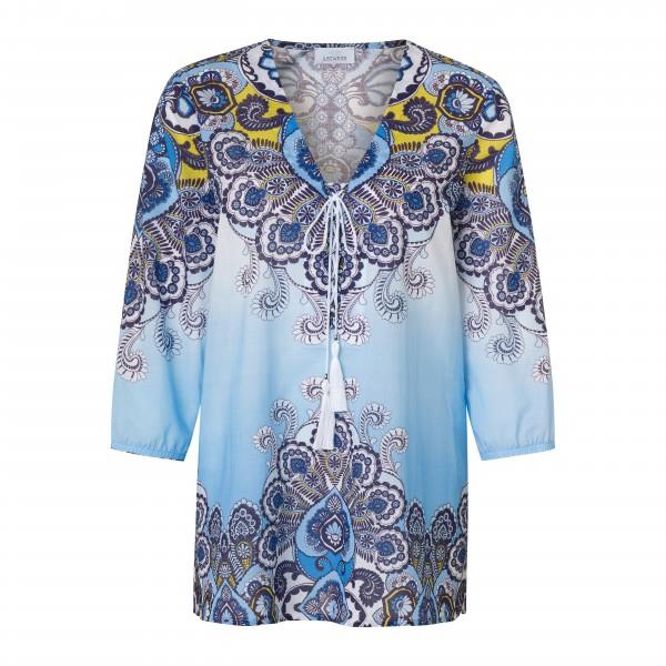 Blaue Tunika Bluse mit Paisley Muster und Glitzer Steinen aus Baumwolle von JUST WHITE