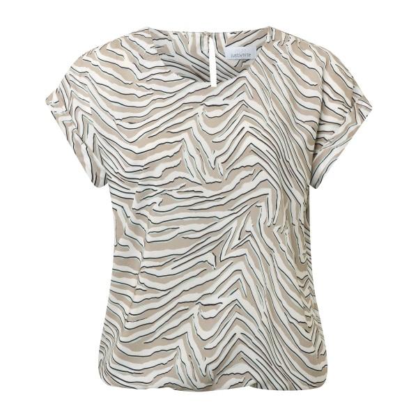 Viskose Bluse mit Animal Print in Khaki Türkis von JUST WHITE