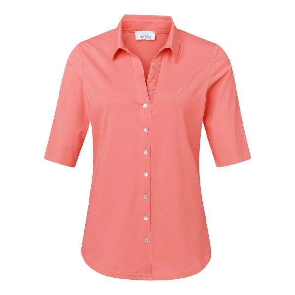 Bequeme Shirtbluse in Koralle mit V-Ausschnitt von JUST WHITE