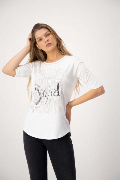 Weißes Shirt mit Glitzer und Kurzarm von JUST WHITE