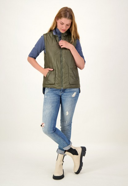 Gesteppte Wende Weste mit zwei seitlichen Taschen in Grün und Blau