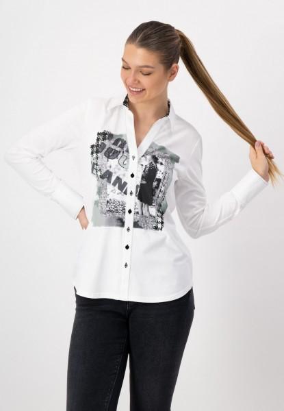 Blusenshirt mit Frontprint von justWhite