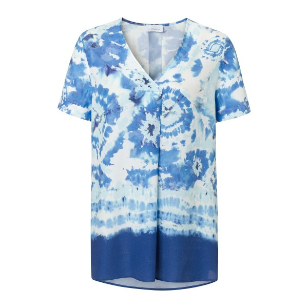 Shirtbluse mit V-Ausschnitt und Batik Optik in Blau von JUST WHITE