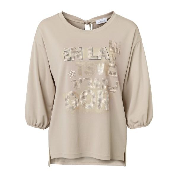 3/4 Arm Shirt mit schimmernden Front Print von JUST WHITE
