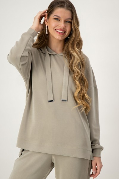 Sweatshirt mit Kapuze in Khaki von JUST WHITE