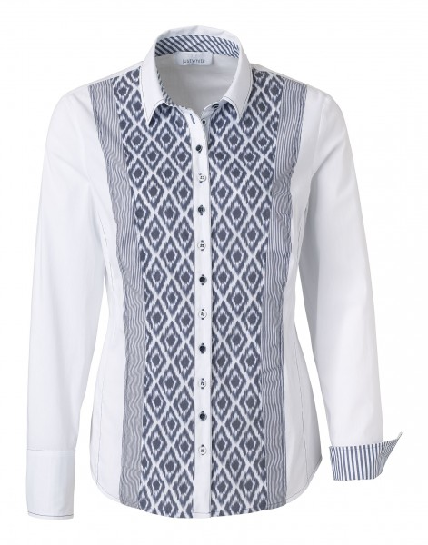 JUST WHITE Bluse mit Ikat-Muster