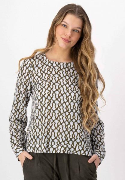 Print Bluse mit grafischem Muster in Khaki, Blau und Weiß von JUST WHITE