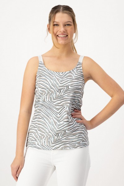 Cooles Tanktop für Damen mit Animal Allover Print in Türkis, Khaki von JUST WHITE