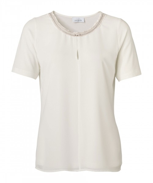 JUST WHITE Elegante Shirtbluse im Materialmix
