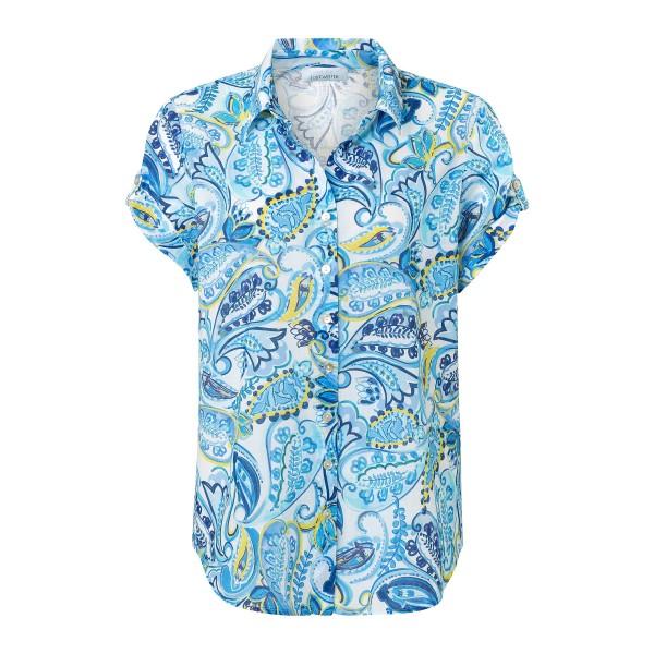 Kurzarm Paisley Bluse mit Hemdkragen und Knopfleiste in Blau, Gelb, Weiß von JUST WHITE