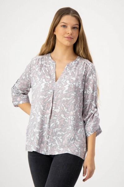 Bluse in Rosa, Grau und Weiß mit Raffung auf der Schulter von JUST WHITE