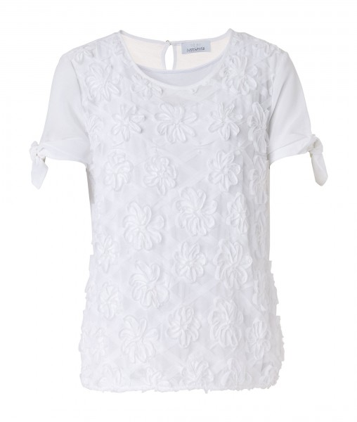JUST WHITE Two-in-One Shirt mit Blütenstickerei