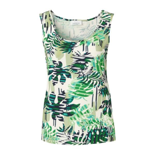 Damen Tank Top mit grünem Blätter-Print von JUST WHITE