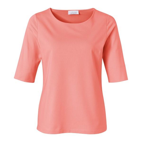 Korall rosa Basic Shirt für Damen mit Shaping-Effekt und Rundhals von JUST WHITE