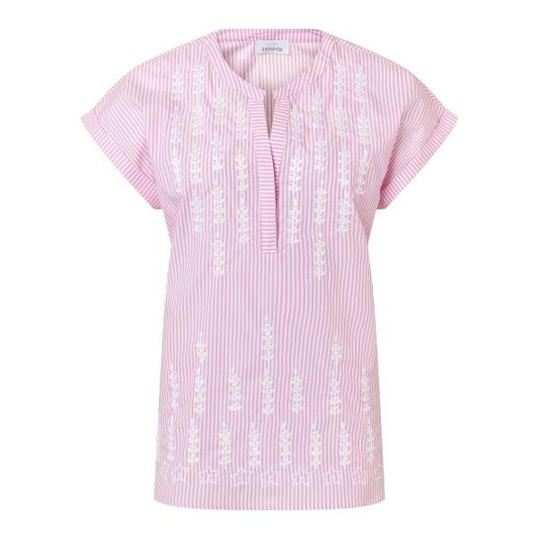 Gestreifte Bluse aus Baumwolle mit Stickereien in Rosa Weiß von JUST WHITE