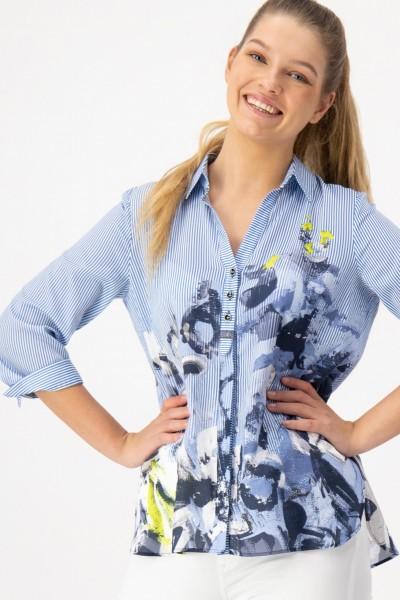 Gestreifte Bluse aus Baumwolle mit Print von JUST WHITE