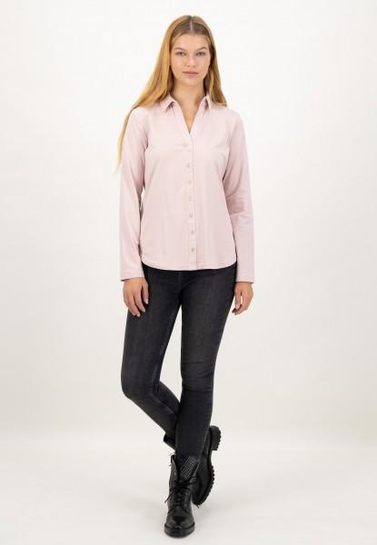 Blusenshirt Langarm mit Hemdkragen und angedeuteter Knopfleiste in Rosa von justWhite