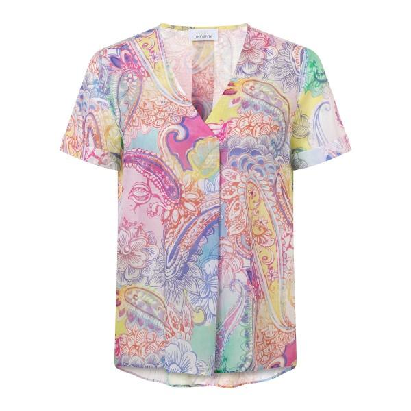 Lockeres Blusenshirt mit buntem Paisley Muster in Rosa, Pink aus Viskose von JUST WHITE