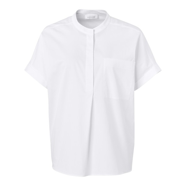 Bluse mit aufgesetzter Brusttasche in Weiß von JUST WHITE nature