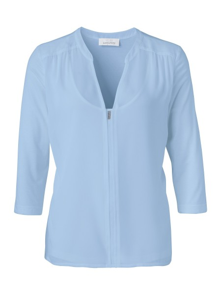 JUST WHITE Two-in-One Shirtbluse in Bleu